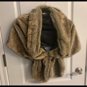 Fur shawl - tan fur wrap